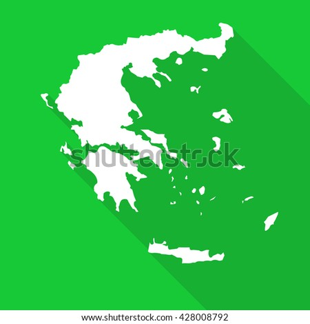 Greece white map,border flat simple style with long shadow on green background - stock vector