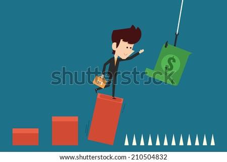 greedy investor - stock vector