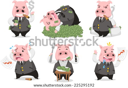 Greedy Pig Rich Banker in love with money, vector illustrator. - stock vector