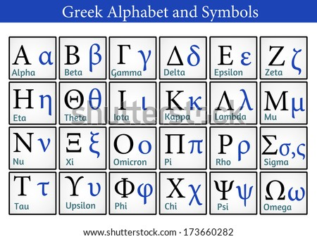 Greek Alphabet and Symbols (Helpful for Education & Schools), vector illustration - stock vector