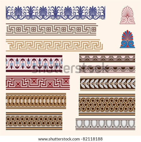 Greek border ornaments - stock vector