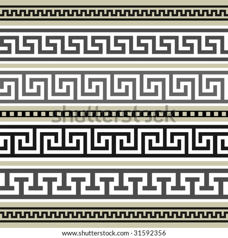 Greek borders collection - stock vector