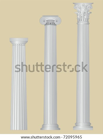 Greek columns with details - stock vector