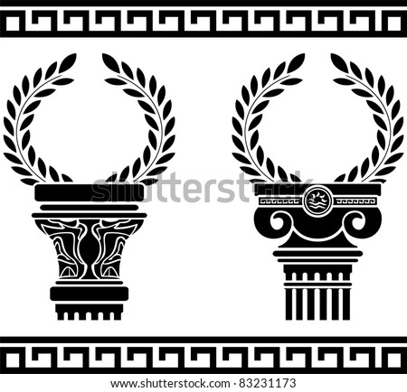 greek columns with wreaths. stencil. vector illustration - stock vector