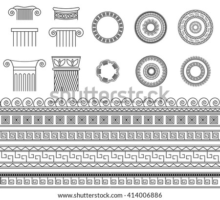 Greek ethnic traditional meander border set. Vector antique frame and column pack. Decoration element seamless patterns in black and white colors. - stock vector