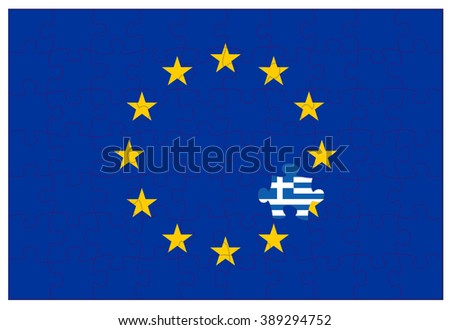 Greek flag colored jigsaw puzzle piece in the european twelve star flag - stock vector