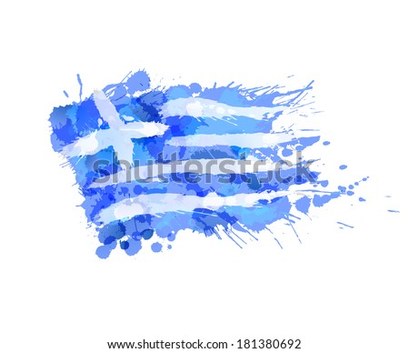 Greek flag made of colorful splashes - stock vector