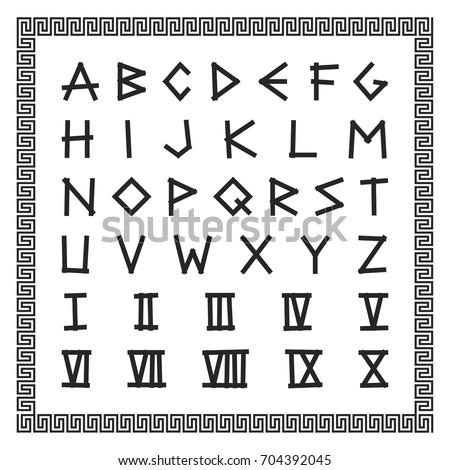 Greek font vector english alphabet ancient stock vector 2018 vector english alphabet ancient latin letters with roman numerals expocarfo