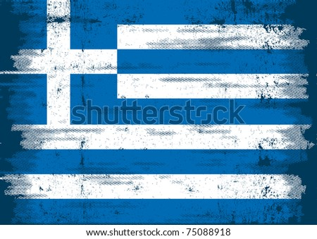 Greek grunge Flag. An old flag of Greece whith a texture - stock vector