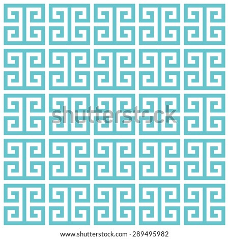 Greek key pattern background. Vector background blue green - stock vector