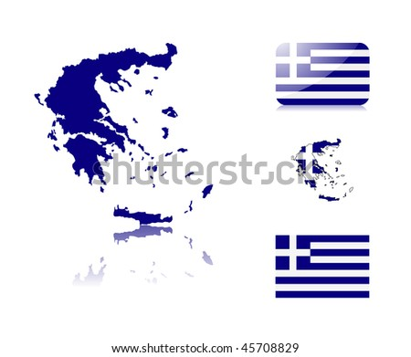 Greek  map including: map with reflection, map in flag colors, glossy and normal flag of Greece. - stock vector