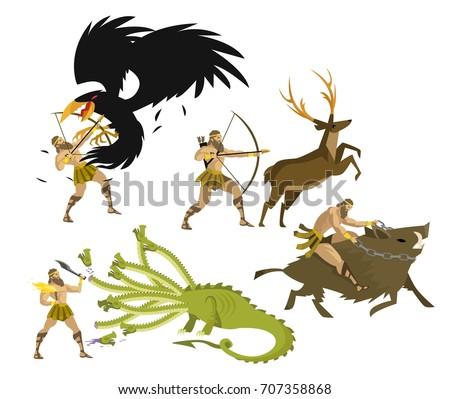 greek mythology hercules heracles performing labours stock vector rh shutterstock com