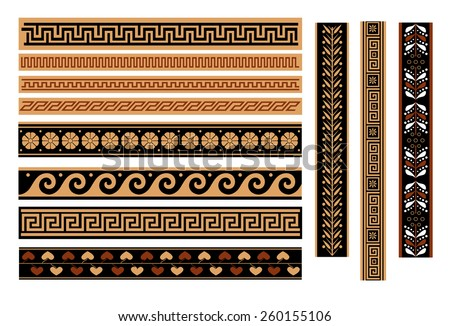 Greek pattern, texture, pattern on a white background. Isolated objects. vector - stock vector