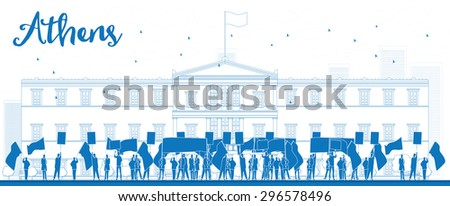 Greek protesting in front of the Greek Parliament in Athens,Greece. Outline  vector illustration - stock vector