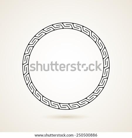 Greek round frame vector illustration on white background - stock vector