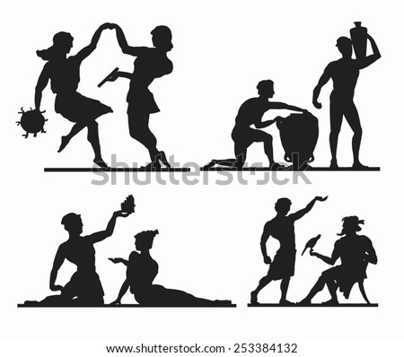 Greek silhouettes. Dancing couple. Slaves with huge and vine or oil vesel. Couple with reed. Young man and sage. Vector. - stock vector