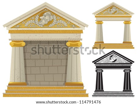 Greek Temple: Cartoon Greek frame with copy space in it, to be used as frame. No transparency used. Basic (linear) gradients. - stock vector