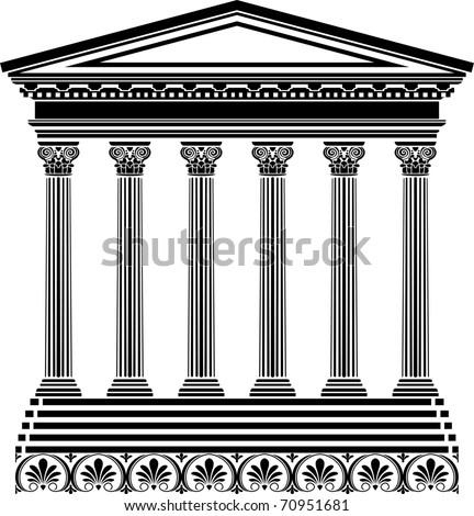 Greek temple stencil - stock vector