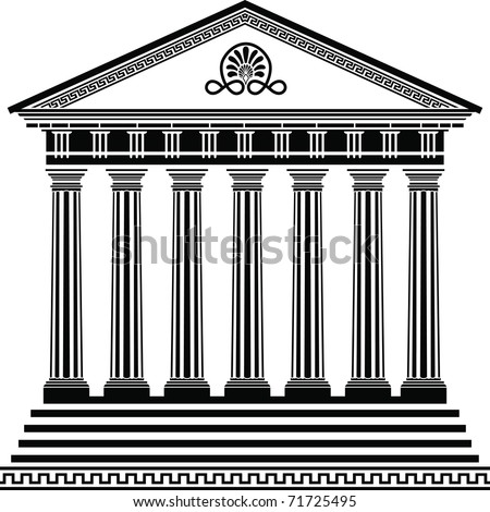 Greek temple stencil second variant - stock vector