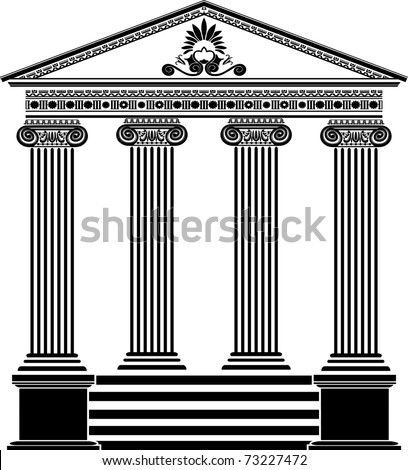 Greek temple stencil third variant with filigree ornament - stock vector
