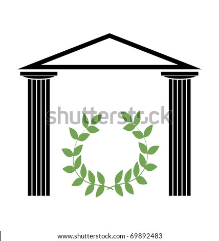 Greek Temple with Doric columns - stock vector