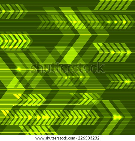 Green abstract arrows background. Vector illustration. - stock vector