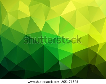 green abstract background of the triangles - stock vector