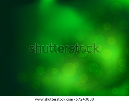 green abstract background with bokeh lights, copyspace - stock vector