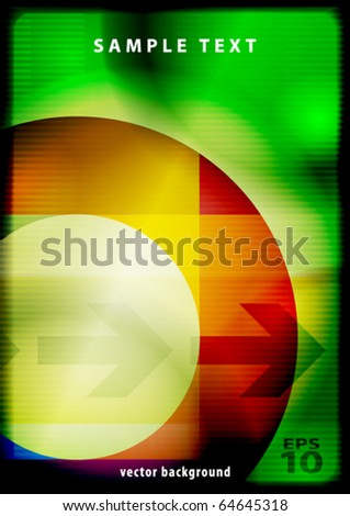 Green abstract background with color ring. Vector