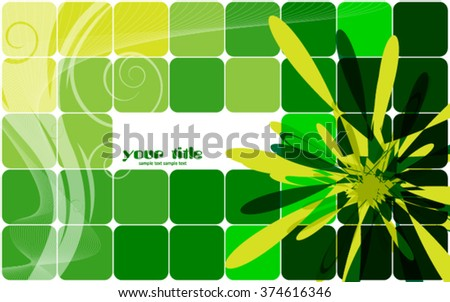 green abstract background with squares - stock vector