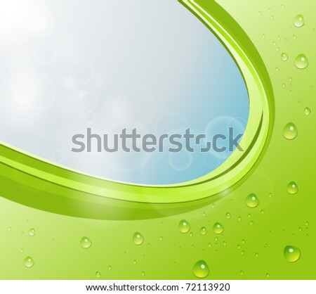 Green abstract background with water drops and sky - stock vector
