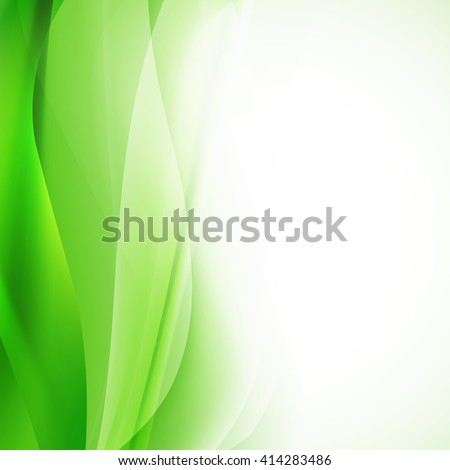 green abstract background with wavy lines. vector - stock vector