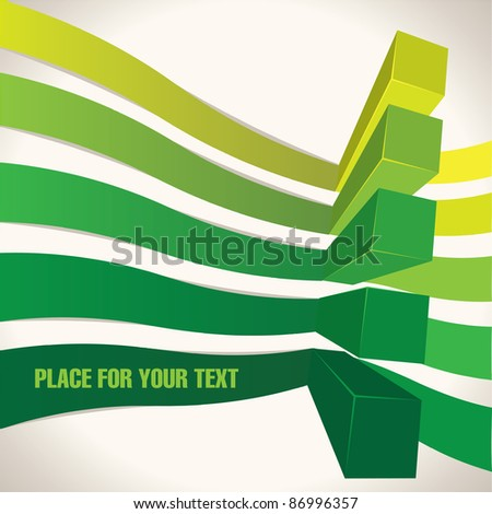 Green abstract chart lines - stock vector