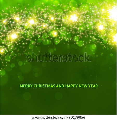 Green abstract Christmas background with white snowflakes - stock vector