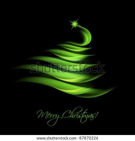 Green abstract Christmas tree - stock vector