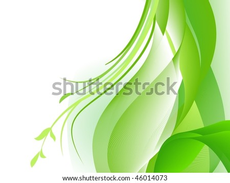 Green abstract design with plants