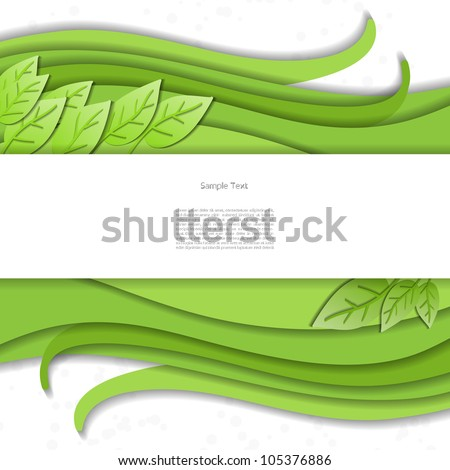 Green abstract eco spring nature modern creative vector business background card with leaf - stock vector
