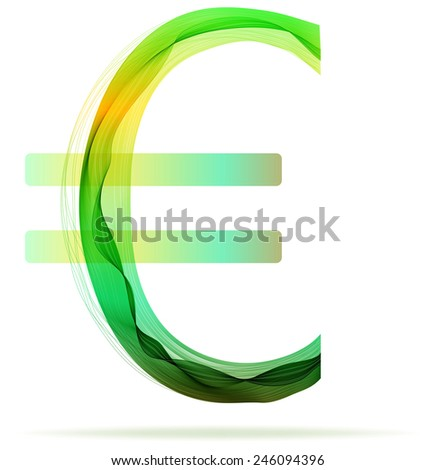 Green abstract Euro sign with shadow over white - stock vector