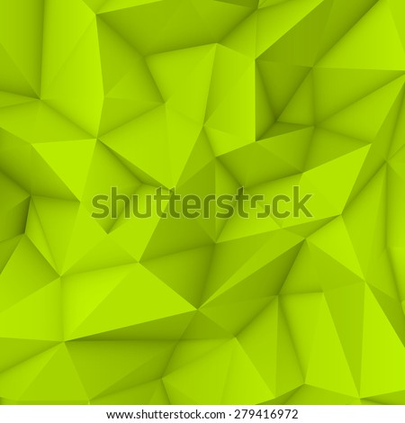 Green abstract low-poly, polygonal triangular mosaic background for web, presentations and prints. Vector illustration. Realistic 3D design template. - stock vector