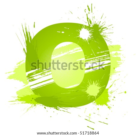 Green abstract paint splashes font. Letter O. Vector on white background.