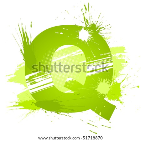 Green abstract paint splashes font. Letter Q. Vector on white background.
