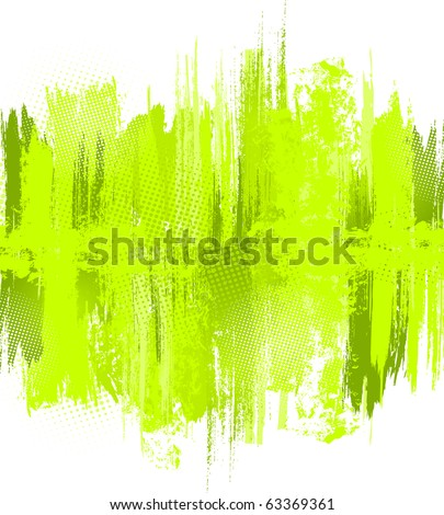 Green abstract paint splashes illustration. Vector background with place for your text. - stock vector