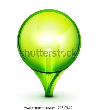 Green abstract sphere light bulb - stock vector