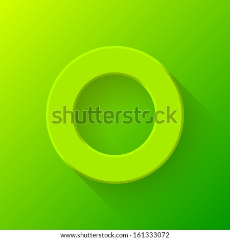 Green abstract technology donut volume knob, blank round button template with flat designed shadow and gradient background for web user interfaces (ui) and applications (apps). Vector illustration. - stock vector