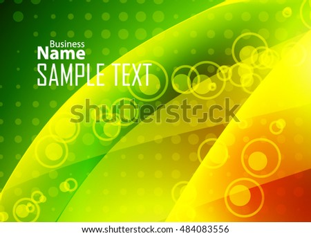 Green abstract template for card or banner. Metal Background with waves and reflections.