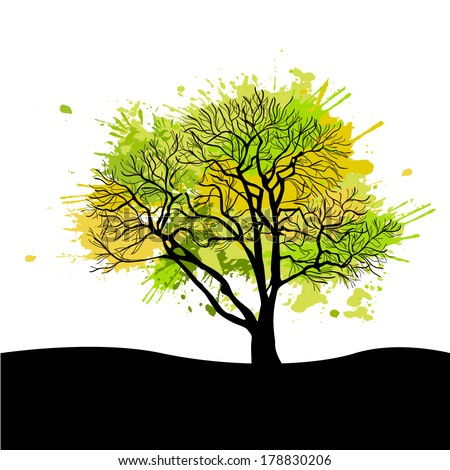 Green abstract tree forming by blots. Vector - stock vector