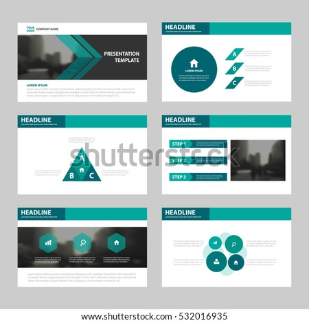 green abstract triangle presentation templates infographic ベクター