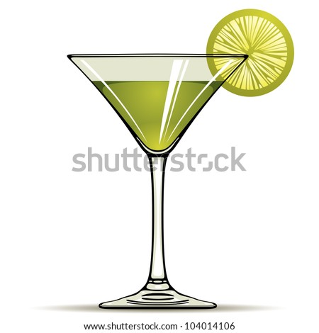 Green alcohol cocktail with green lime isolated on white, vector illustration. - stock vector