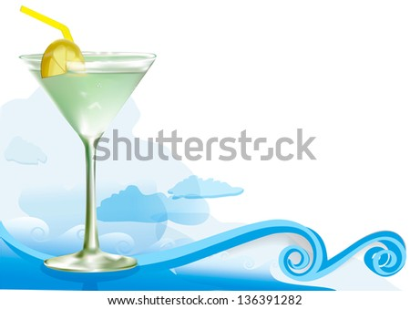 Green alcohol cocktail with lemon and waves and clouds - stock vector