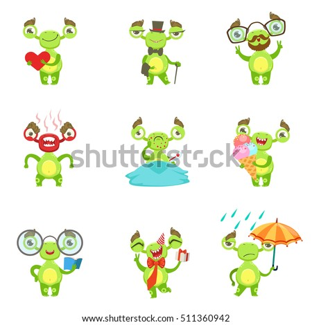 Green Alien Character Different Emotions And Situations Set